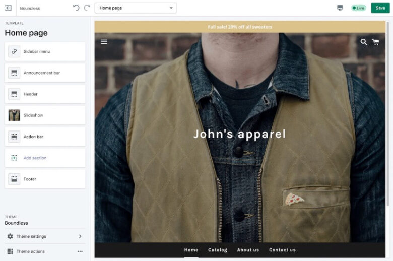 Shopify 管理画面 デザイン編集