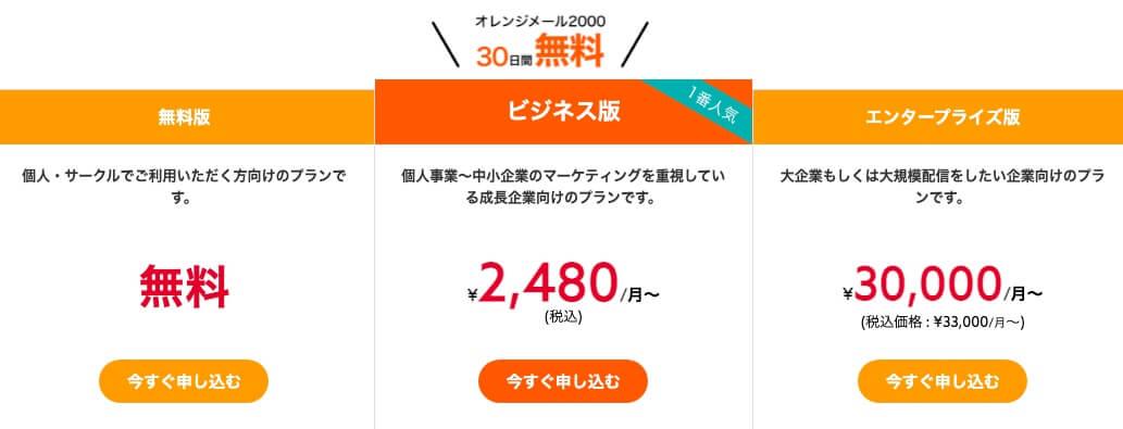 オレンジメール 料金プラン