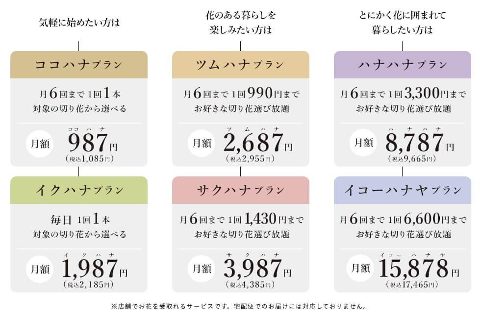 お花の定額制アプリ「ハナノヒ」 料金プラン